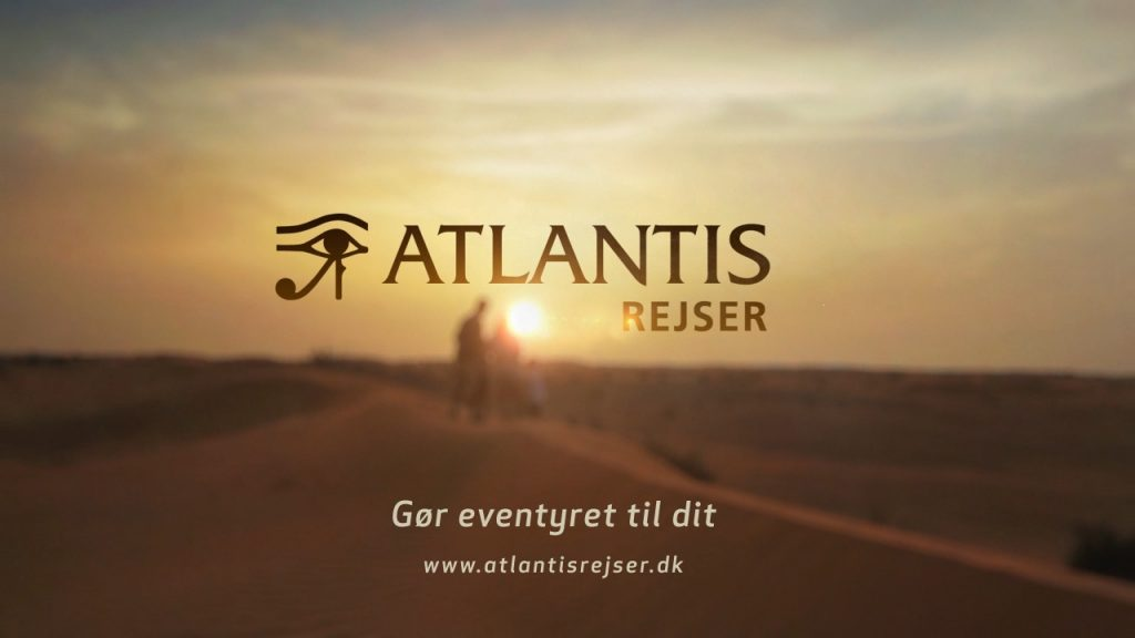 TV Commercial video production with motion graphics, editing and color grading for Danish Atlantis Rejser