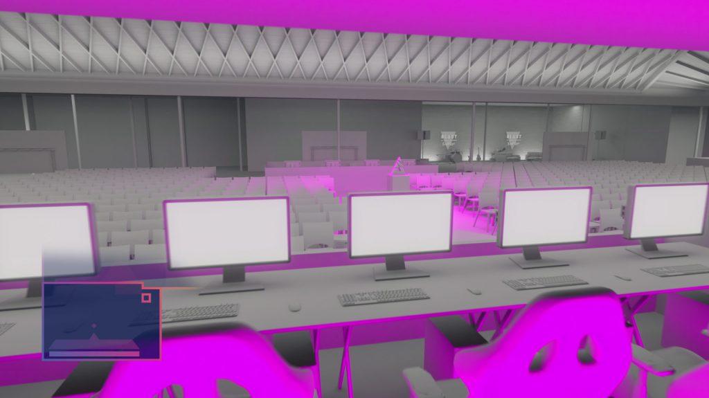 A walk through explainer video of the LA venue for the eSport event Blast pro Series - architecture 3d animation motion graphics